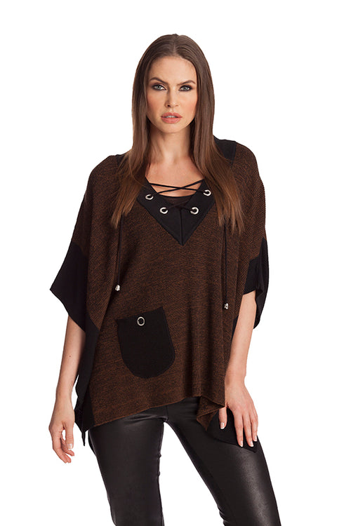 V-Neck Tie Up Poncho