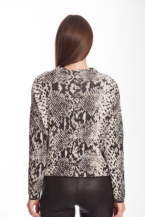 Snake Pattern Funnel Sweater
