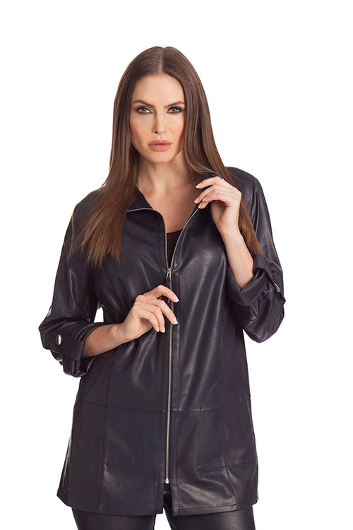 Microfiber Leather Long Jacket