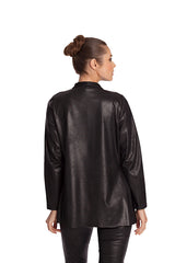 Microfiber Leather long Draped Jacket
