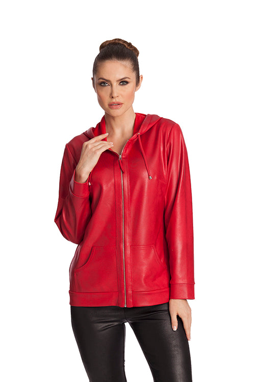 Microfiber Leather Hooded Drawstring Jacket