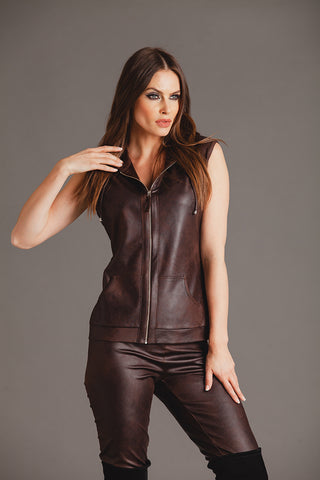 Microfiber Leather Double Breasted Jacket