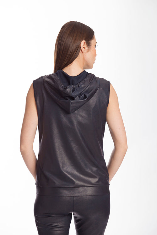 Microfiber Leather Hooded Drawstring Vest