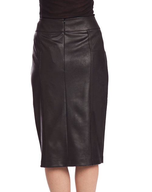 Microfiber Leather Long Button Skirt