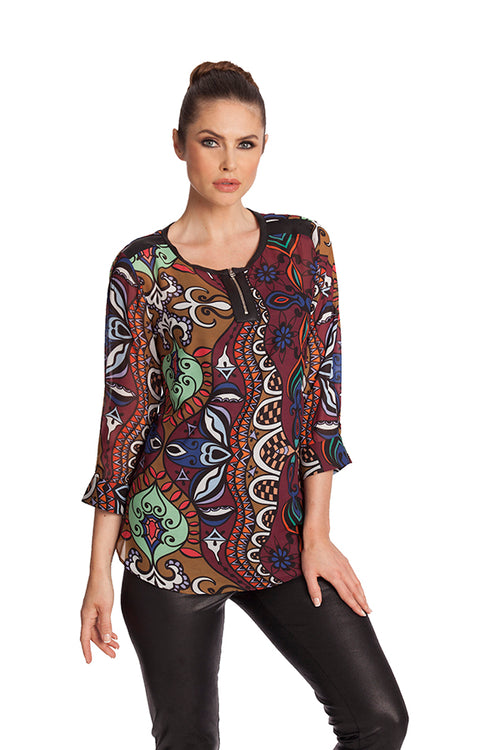 Mosaic Microfiber Leather Detail Top