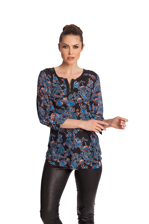 Floral Microfiber Leather Detail Top