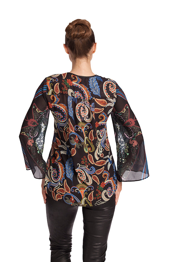 Paisley Microfiber Leather Detail Top