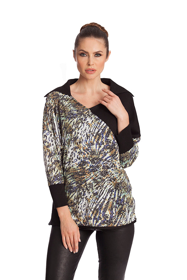 Leopard Collar Neck Tunic