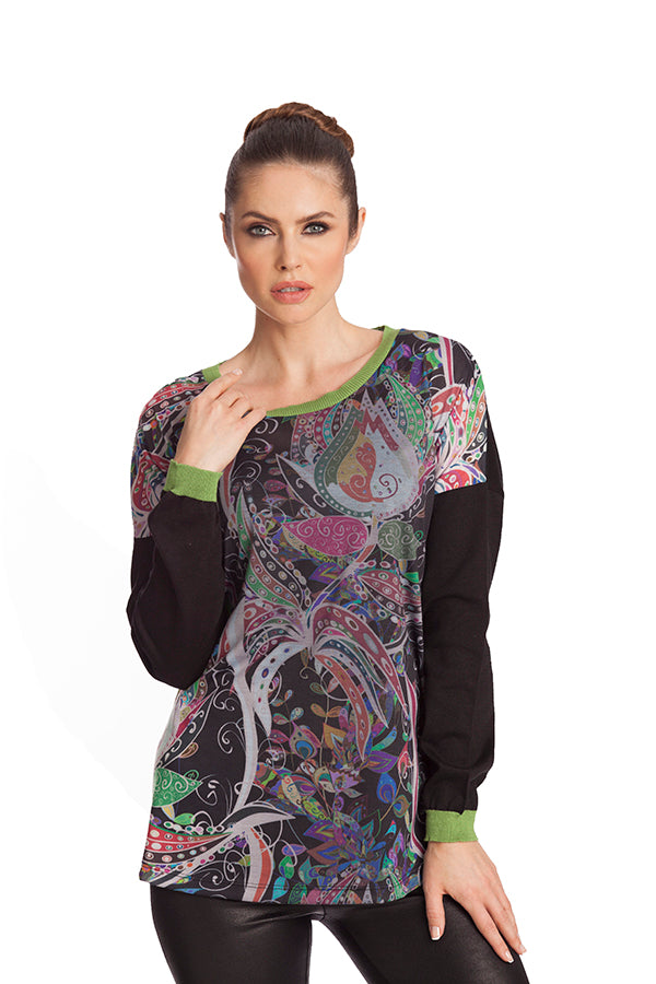 Paisley Long Sleeve Crew Neck Top