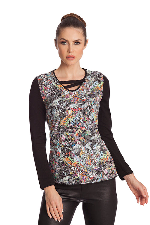 Mosaic Detail Neck Top