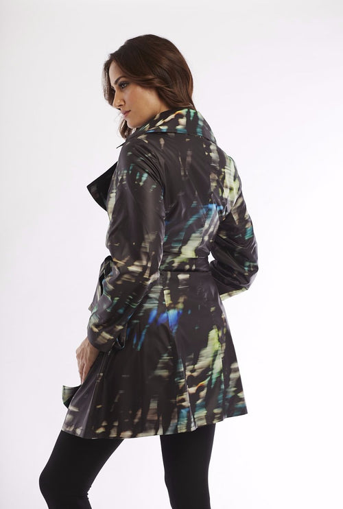 Midnight Belted Collared Rain Jacket