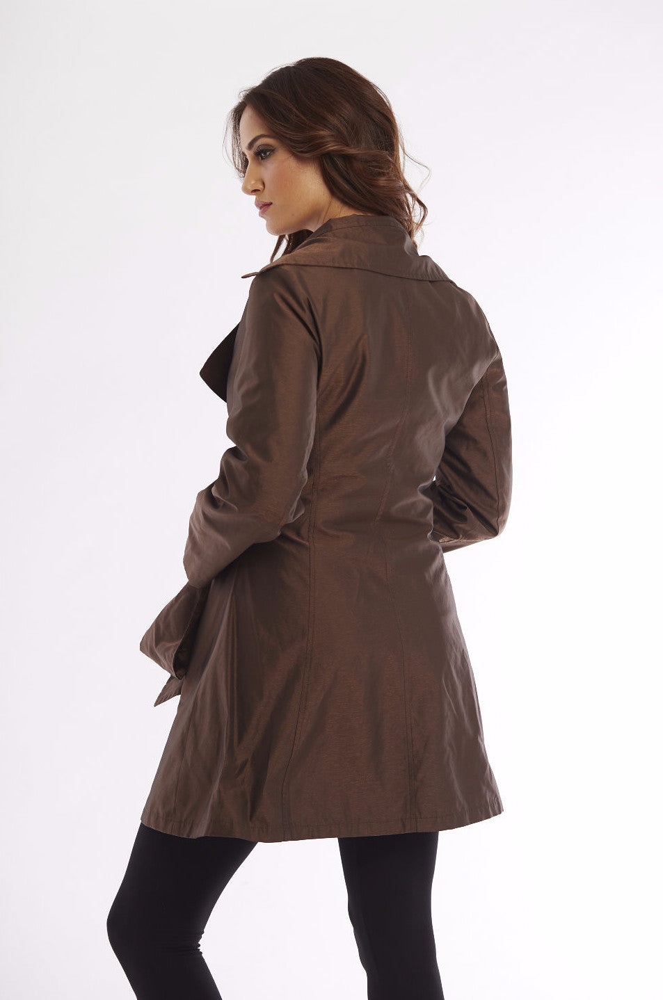 Metallic Short Hooded Rain Jacket