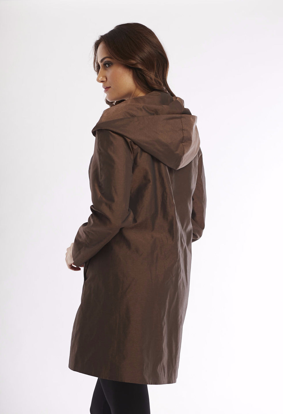 Metallic Long Trench Jacket W/ Hood