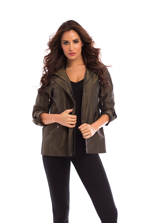 Water Resistant Military Style Coat With Hood