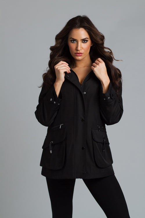 Water Resistant Military Style Coat With Detail Pockets