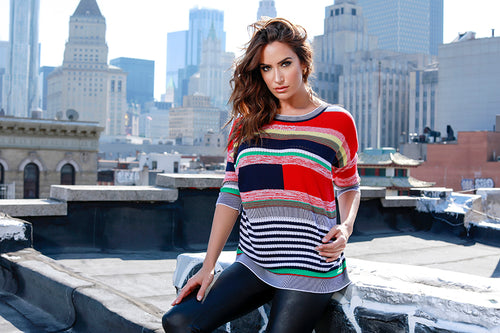 Multi Striped 3/4 Sleeve Sweater