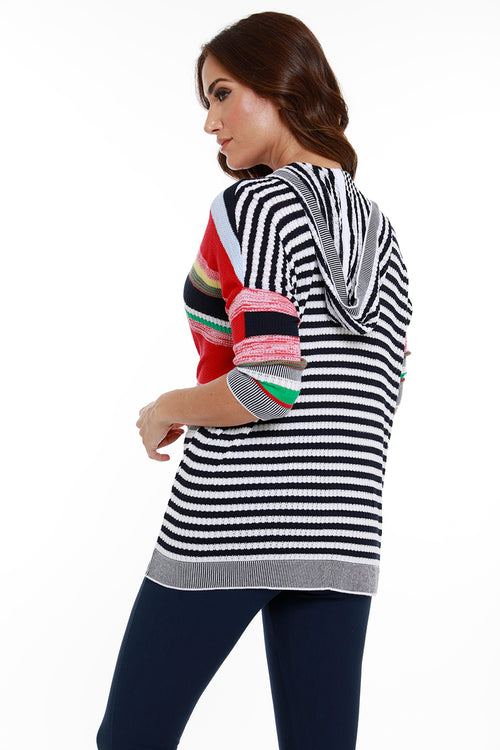 Multi Striped 3/4 Zip Hooded Cardigan