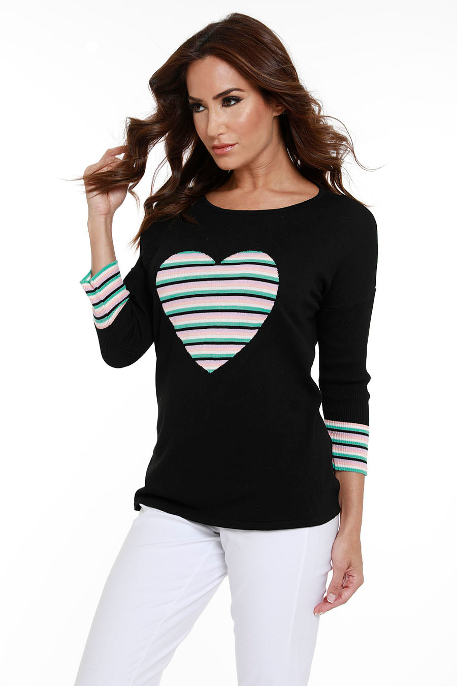 Striped Heart 3/4 Sleeve Sweater