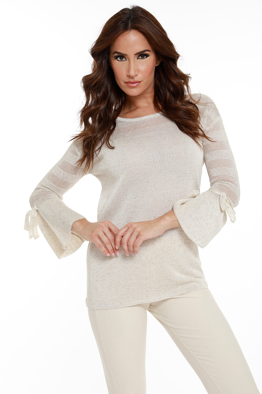 Linen Lace Tie Bell Sleeve Top