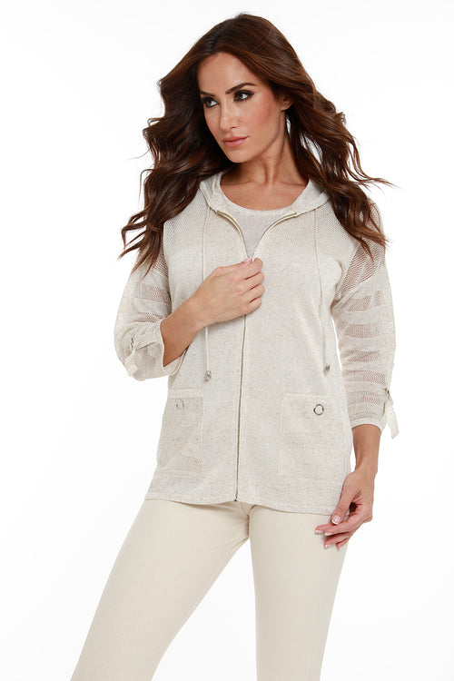 Linen Zip Hooded Cardigan