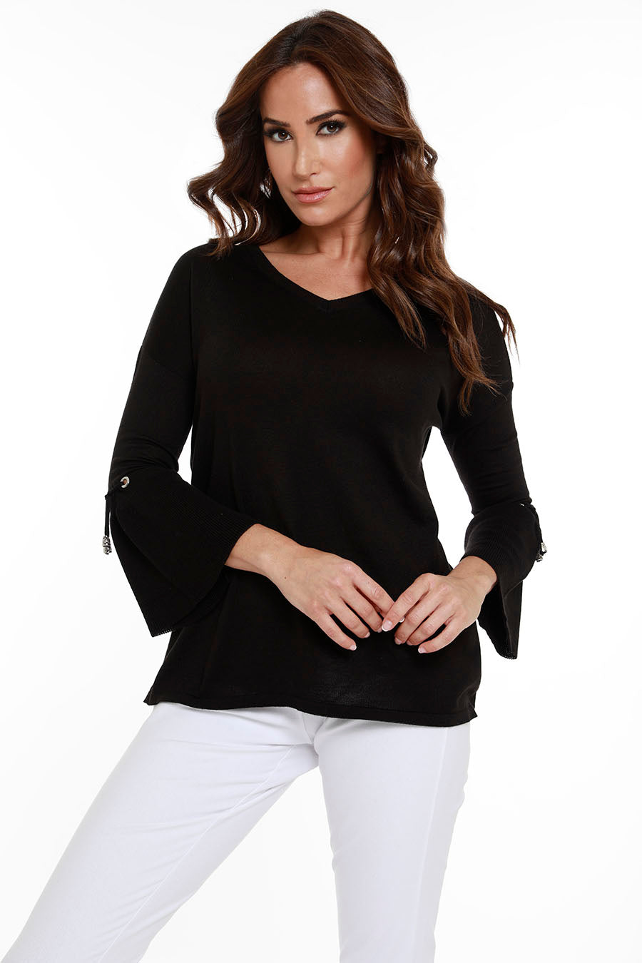 V-Neck Bell Sleeve Tunic