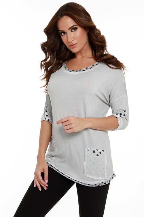 Crew Neck Polka Dot Top