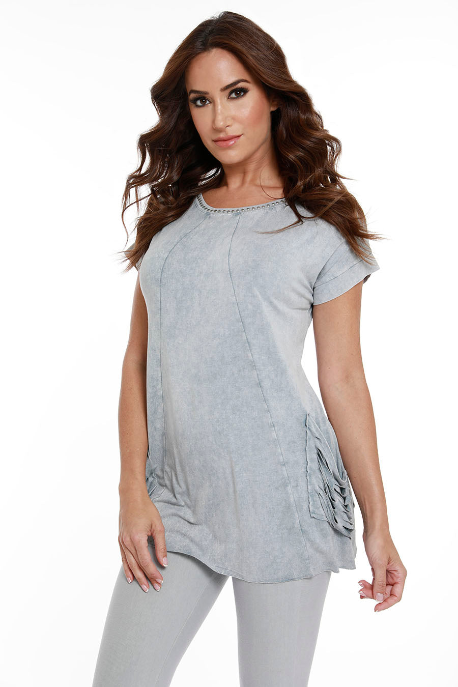 Beaded Short Sleeve Tunic W/ Pockets