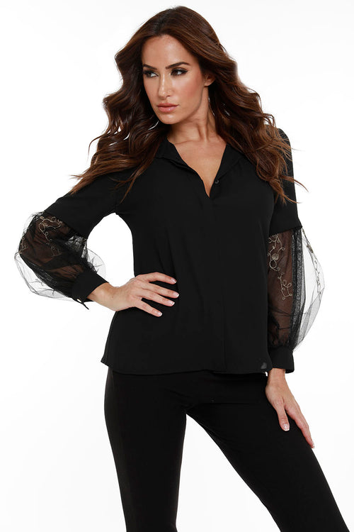 Lace Sleeve Button Up Top