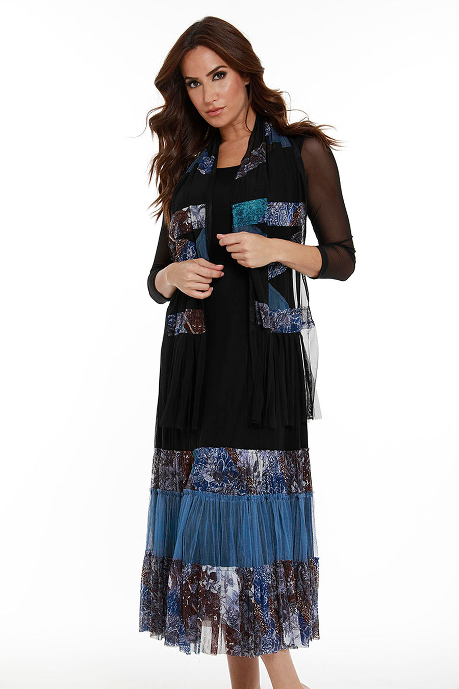 Blue Garden Maxi Dress W/ Scarf