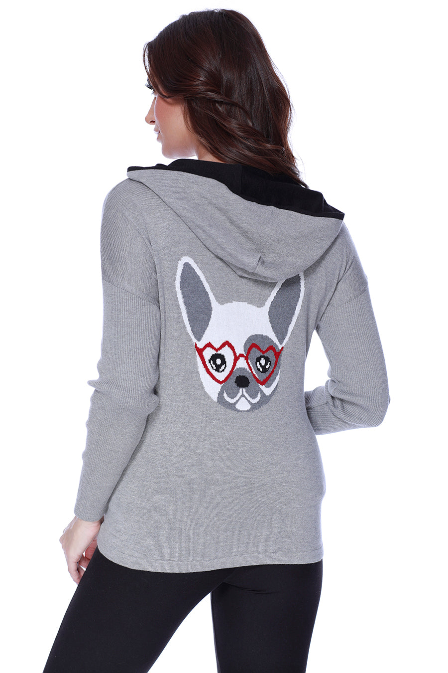 Frenchie Love Hooded Caridgan