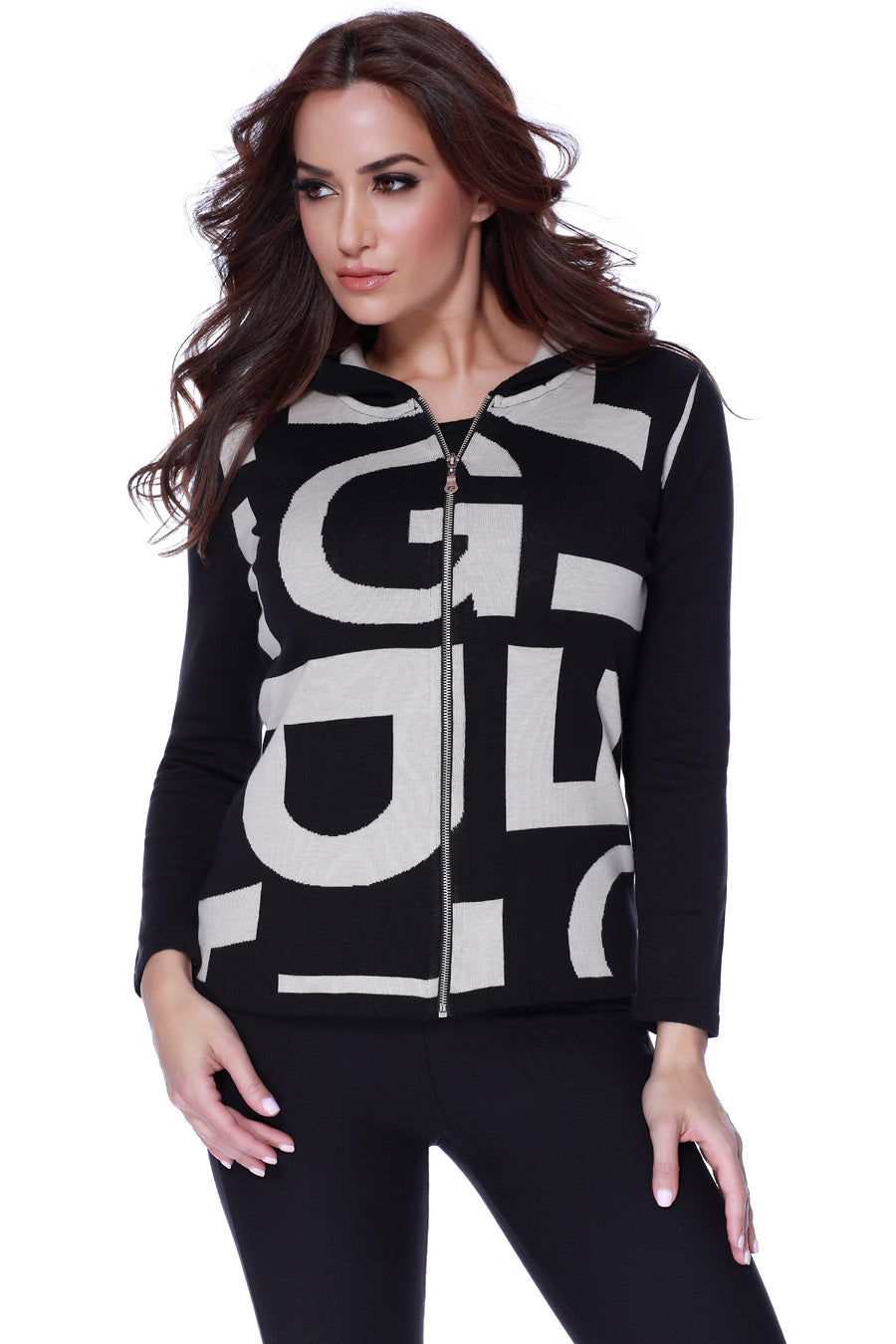 Abstract Hooded Cardigan