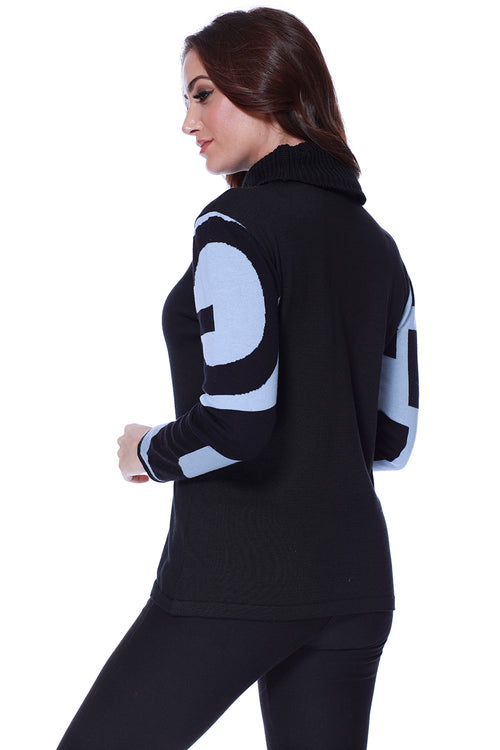Abstract Turtleneck Pullover