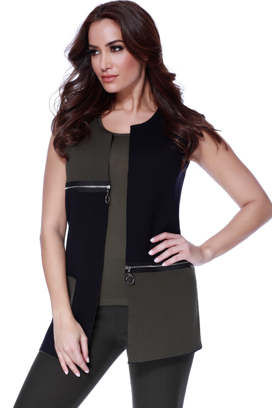 2- Tone Long Zippered Vest