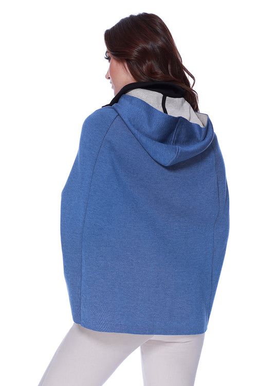 High Slit Detachable Hooded Poncho