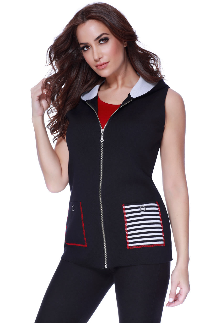 Nautical Hooded Long Vest