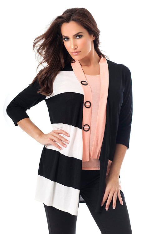Striped Button Draped Cardigan
