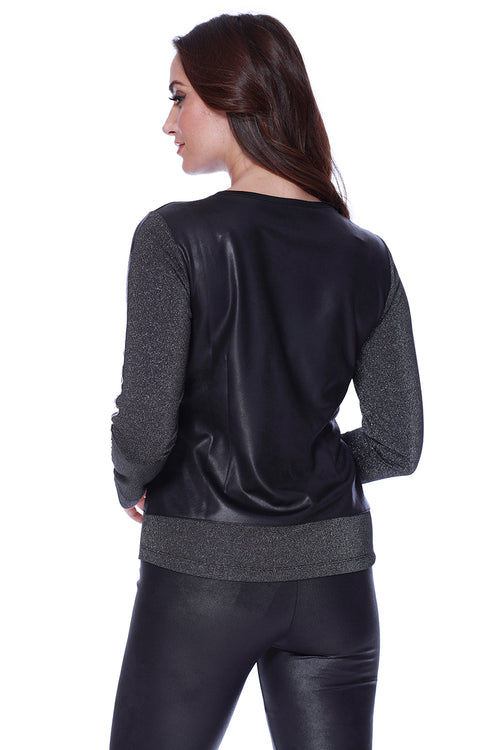 Micro Leather Shimmery Pullover
