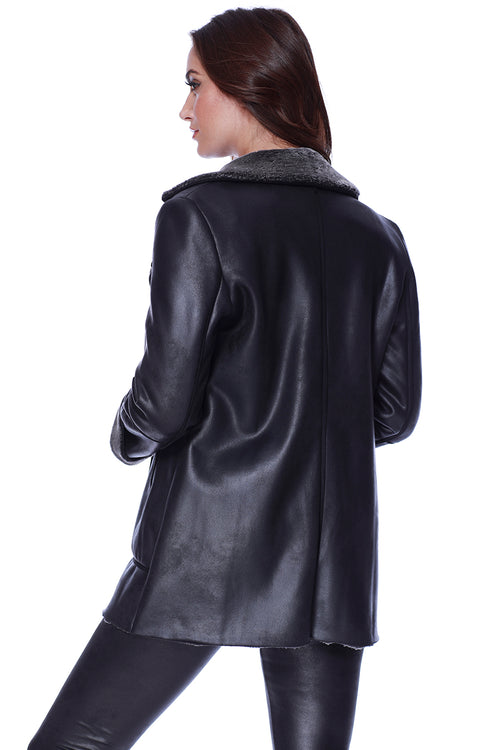 Microfiber Leather Coat W/ Faux Fur