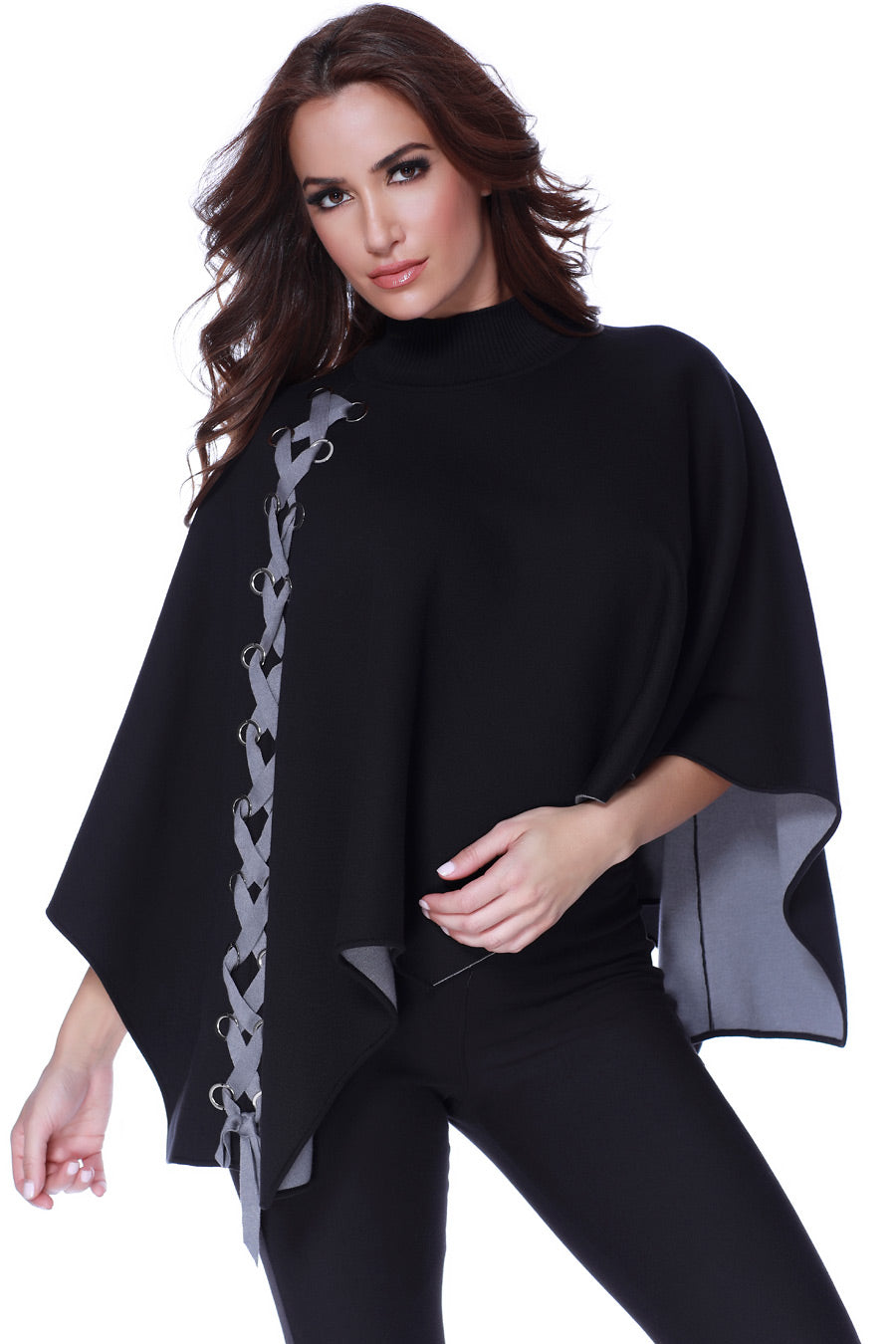 Mock Neck Side Lace Poncho Sweater