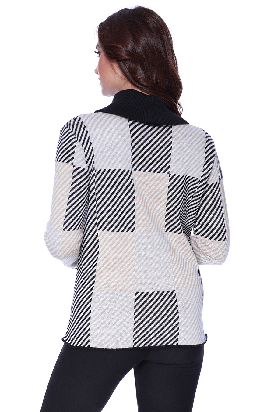 Striped Checkerboard Cowl Neck Pullover W/ Side Slits
