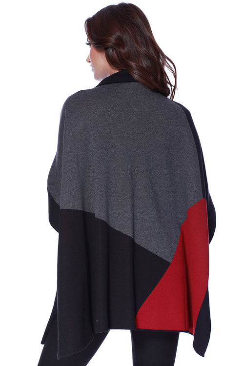 Color Block Poncho W/ Pockets