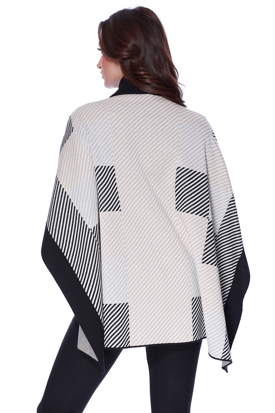 Striped Checkerboard Mock Neck Poncho
