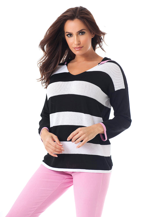 Striped Hooded Top