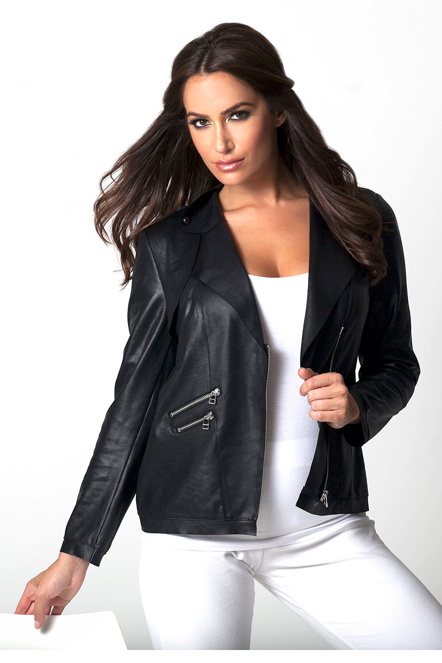 Microfiber Poly Leather Moto Jacket