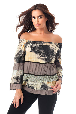 Sheer Panel Graphic Print Top
