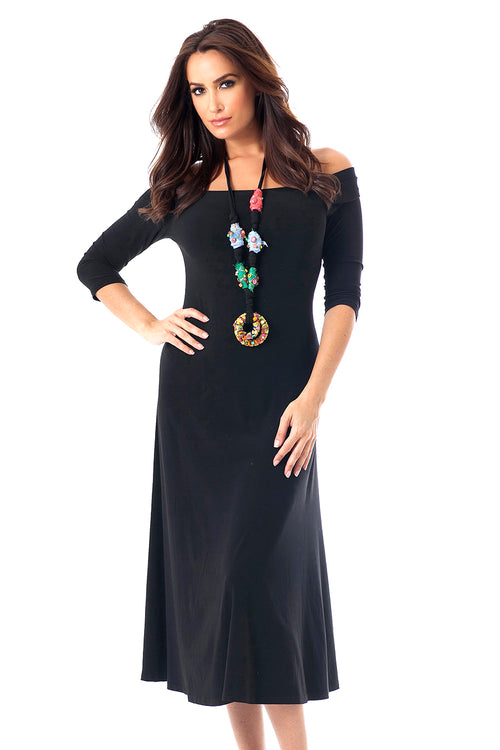 3/4 Sleeve Maxi Dress w/ Embroidery Necklace