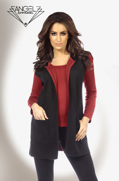 Contrast Reversible Long Vest