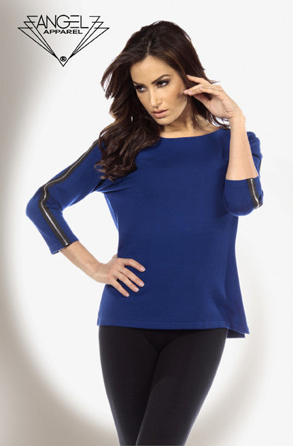 Kashmira Contrast Zip-Sleeve Sweater