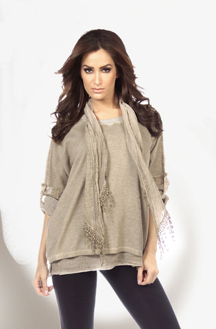 2-Tone High Slit Sweater Poncho