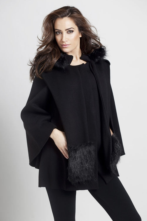 Poncho Jacket W/ Detachable Faux Fur